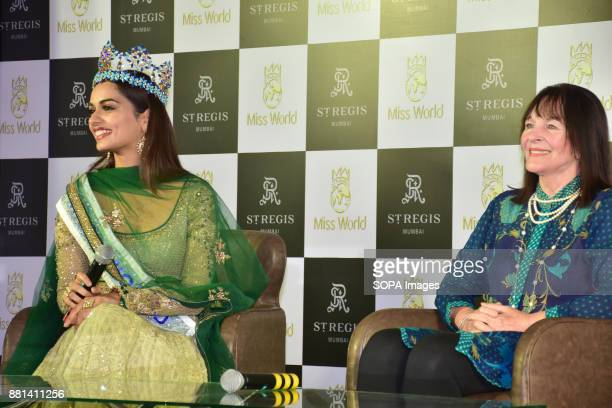 After a long 17 years India won Miss World pageant Miss World 2017 winner 'Manushi Chhillar' and 'Julia Morley' attend the press conference in Mumbai...