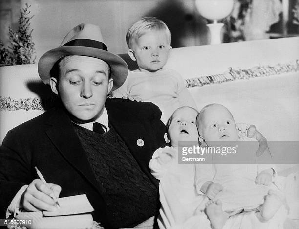 After a long argument Bing Crosby finally agreed to pose for a picture with his three sons Here's Papa Bing with Gary Evans and Phillip Lang and...
