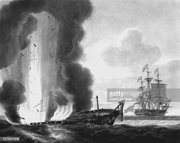After a naval engagement the HMS Java is set afire and destroyed while the USS Constitution stands at a distance to repair her rigging and other...