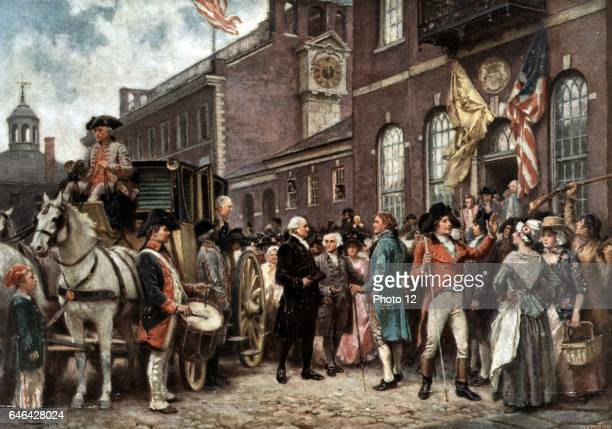 After a painting by J.L.G. Ferris Washington's Inauguration at Philadelphia Washington, First President of the United States of America arriving at...