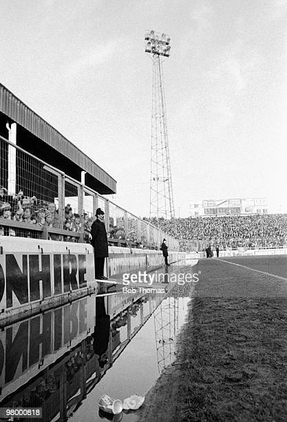 After a period of torrential rain, water is standing around the pitch at the City Ground in Nottingham prior to the European Cup Semi-Final 1st leg...