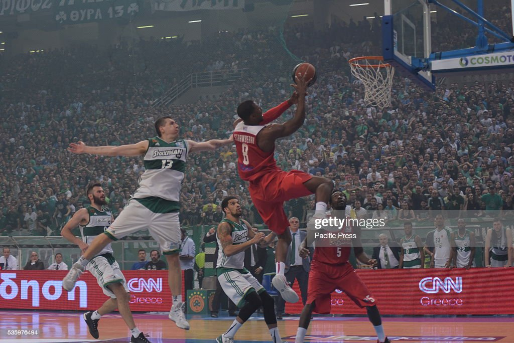OAKA, ATHENS, ATTIKI, GREECE - : After a sensational game that had two extensions, Olympiakos (red team) beat Panathinaikos (green team) in their home, with 82-81 and by making the 3-1, Olympiacos won the Greek basketball league. It was the last game of the captain of Panathinaikos Dimitris Diamantidis.