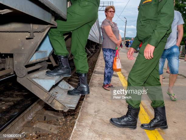 After a short stop soldiers return to the MoscowVladivostok TransSiberian Railway Spanning a length of 9289km it's the longest uninterrupted single...