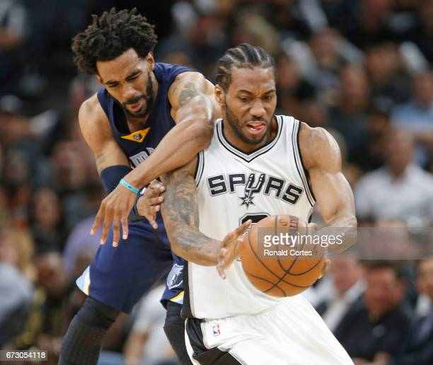 After a steal by Kawhi Leonard of the San Antonio Spurs Mike Conley of the Memphis Grizzlies commits a clear path foul in Game Five of the Western...