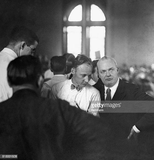 After about a 7 minute lapse the jury returned a verdict of guilty against John T Scopes and he was fined $100 this photo shows Scopes with Dudley...