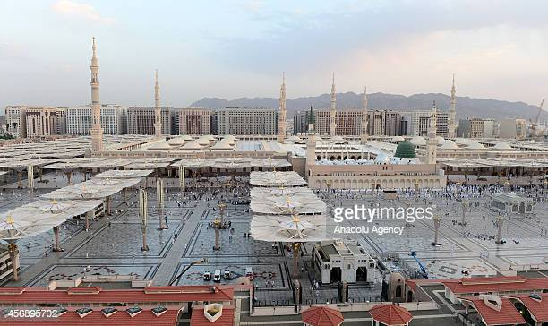 After accomplishing their holy pilgrimage in the holy city of Mecca Muslim pilgrims visit Masjid alNabawi where the tomb of Prophet Mohammad is...