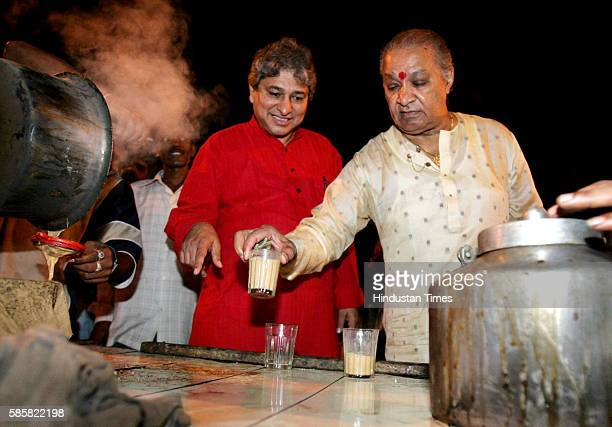 After an all night performance at the Nishad Dhawal Concert on the occasion of Kojagiri Poornima Pandit Hari Prasad Chaurasia gets a steaming glass...