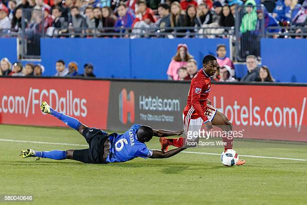 After being beat, Montreal Impact defender Hassoun Camara reaches out to grab FC Dallas forward Fabian Castillo during the MLS match between the...