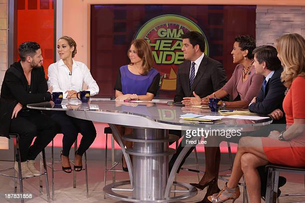 """After being eliminated from """"Dancing with the Stars"""" Elizabeth Berkley Lauren and Val Chmerkovskiy appear on """"Good Morning America,"""" 11/12/13, airing..."""