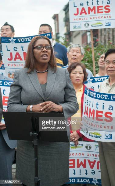 CONTENT] After being endorsed by New York City Comptroller John C Liu New York City Public Advocate candidate Letitia Tish James speaks to a group of...