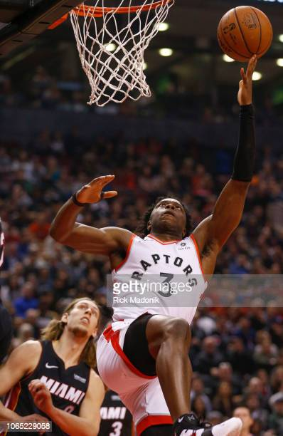 After being fouled by Miami Heat forward Kelly Olynyk Toronto Raptors forward OG Anunoby tries to finish Toronto Raptors vs New Orleans Pelicans in...
