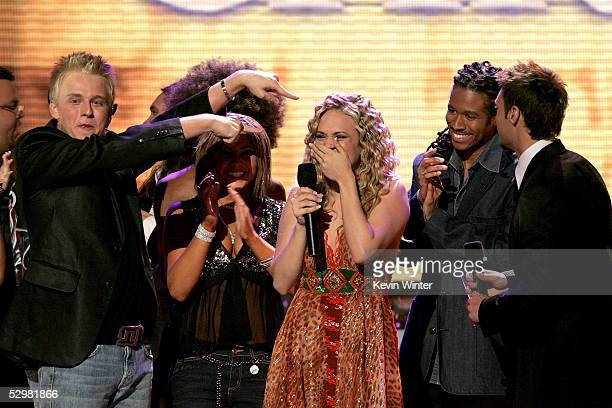 After being named the new American Idol singer Carrie Underwood is joined by fellow contestants onstage during the American Idol Finale Results Show...