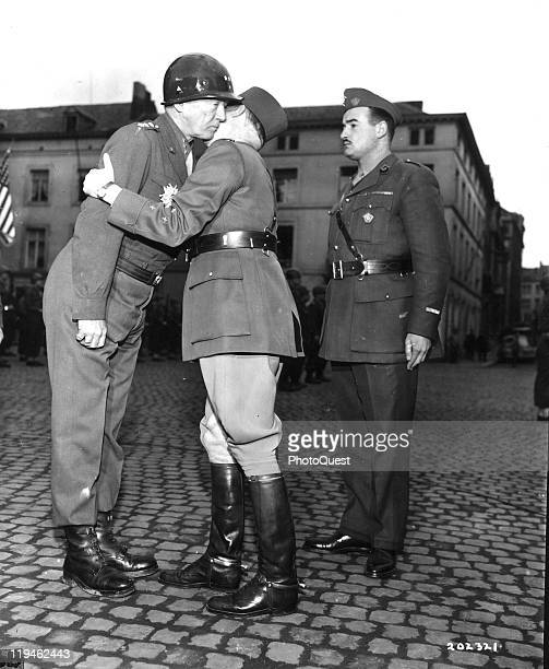 After being presented with the Grand Officer of the Legion of HOnor award American military commander Lieutenant General George S Patton rather...