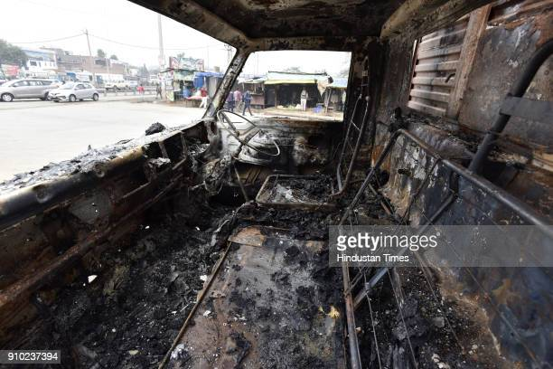 After Bhondsi incident a mini truck was also burnt near Hero Honda chowk on Wednesday night on January 25 2018 in Gurgaon India Rajput groups hold a...
