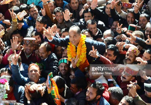 After BJP announces the Himachal Pradesh chief minister name party workers shouting slogans and celebrating with the elected chief minister Jai Ram...