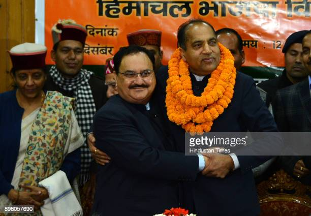 After BJP announces the Himachal Pradesh chief minister name union health minister JP Nadda congratulate the elected chief minister Jai Ram Thakur on...