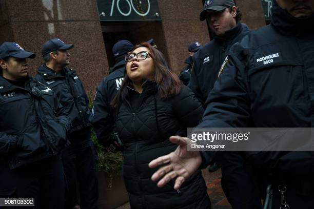 After blocking the doors to the building an activist is arrested by members of the New York City Police Department during a rally for the passage of...