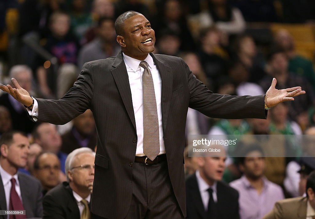 After Boston Celtics head coach Doc Rivers was called for a technical foul he tried to get an answer to what he said to earn the call in the fourth quarter. Celtics NBA basketball, action and reaction. The Celtics play the Detroit Pistons at TD Garden.