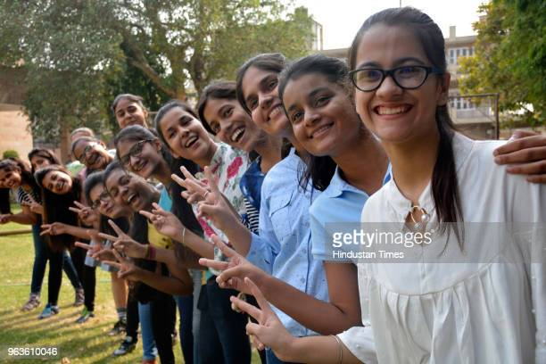 After CBSE declared class 10th results students expressed joy at KDB Public School Kavi Nagar on May 29 2018 in Ghaziabad India Of the 16 lakh...
