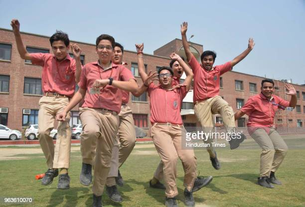 After CBSE declared class 10th results students expressed joy at Vanaspati Public School Vasundhara on May 29 2018 in Ghaziabad India Of the 16 lakh...