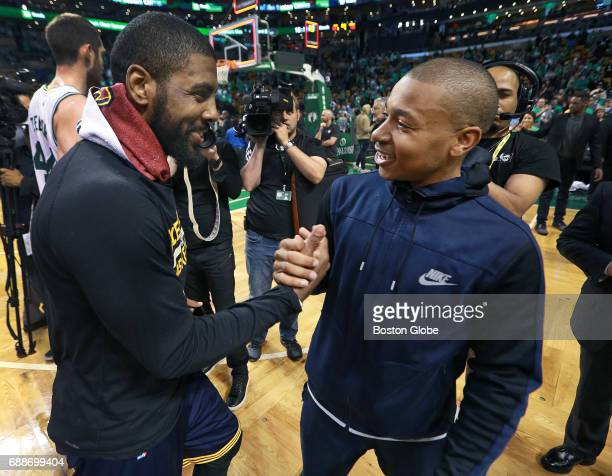 After Cleveland Cavaliers series clinching victory injured Celtics guard Isaiah Thomas came onto the floor here he exchanges a hand with Cleveland's...