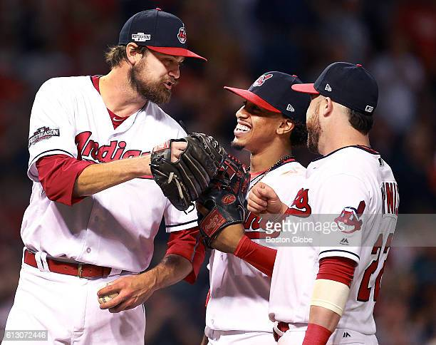 After Cleveland Indians reliever Andrew Miller left got the second out of the final inning he pitched he thought it was the third out and started to...