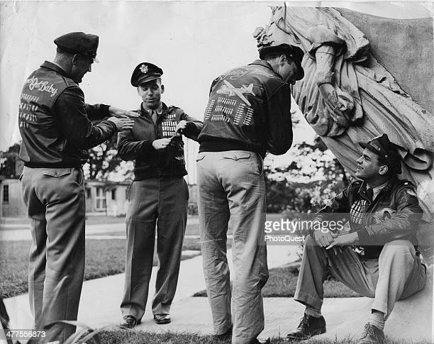 After completing their tour and before going home flying men of all ranks are sent to 'Washington Hall' in the countryside England August 1944 These...