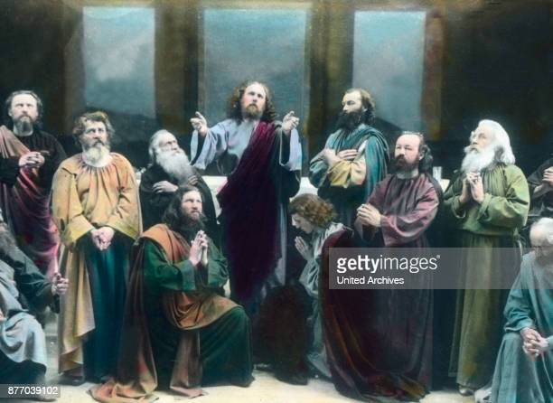 After completion of the Lord's Supper with his disciples Jesus rises to say grace He sees the sadness of his disciples and comforts her with the...