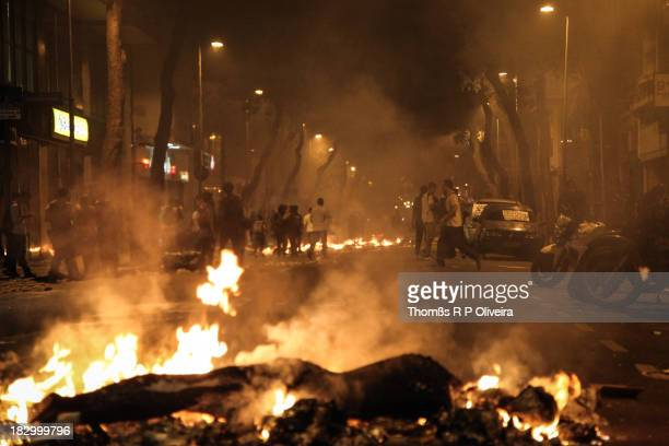 After confrontation with police, protesters burned garbage in the streets in the vicinity of the Legislative Assembly of the State of Rio de Janeiro,...