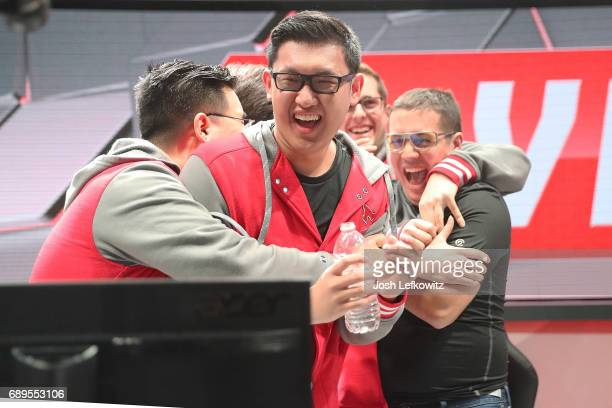 After defeating the University of Toronto Tony Chau of Maryviille University is seen celebrating the League of Legends College Championship at the NA...