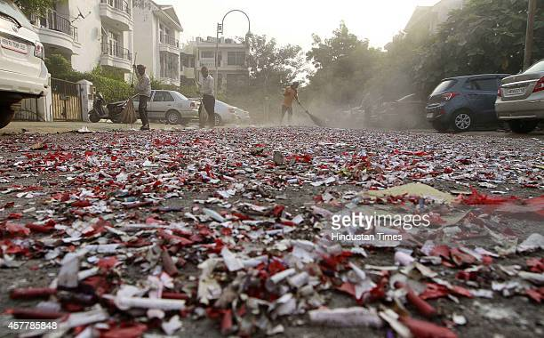 After Diwali celebration the streets of Gurgaon continued to be filled up with the residue of crackers burnt on Diwali eve on October 24 2014 in...