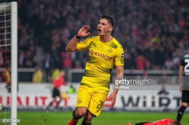 After Dortmunds Andre Schuerrle misses a penalty his team mate Maximilian Philipp gets the equalizer during the Bundesliga match between VfB...