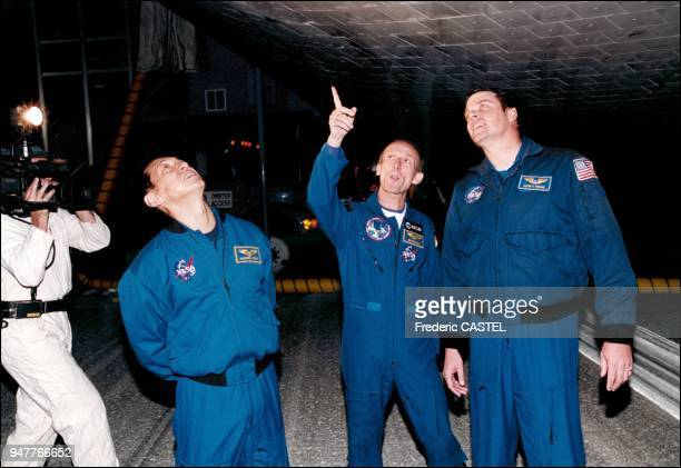 After each flight astronaut just after landing go around their shuttle to check if the tiles have been damaged at liftoff by any debris It happens...