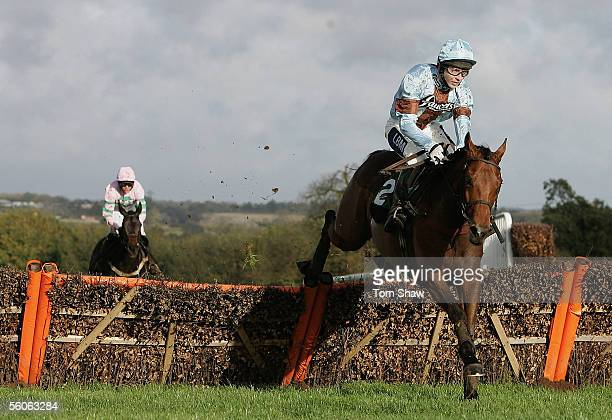 After Eight ridden by Paul O'Neill jumps the final fence to win the Lambert Smith Hampton Handicap Hurdle race during the Towcester Race Meeting at...