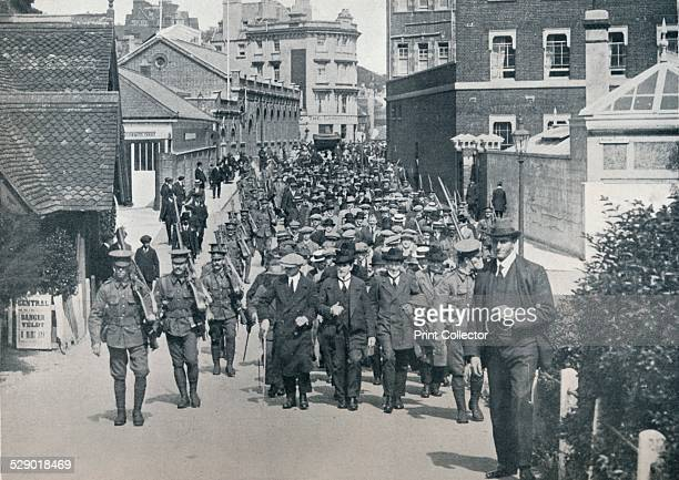 A large party of German Reservists who were arrested as they were endeavouring to cross to the continent c1914 ' After England declared War A large...