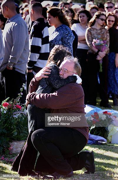 After funeral Tuesday Jan 7 2003 in Fillmore Joseph Cross of Moorpark comforts his daughter Julie Cross10 Funeral for Valerie Zavala the19–year–old...