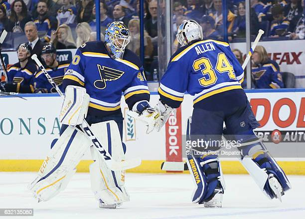 After giving up two goals in the first period against the Washington Captials starting St Louis Blues goaltender Jake Allen is replaced by Carter...
