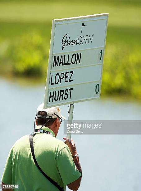 After her score reached 18 over for the tournament Nancy Lopez' score was taken off of the signboard carried with her group during the second round...