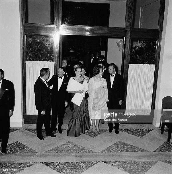 After his show at Sporting Club Frank Sinatra meets Prince Rainier Princess Grace Juan Carlos of Spain and wife Princess Sofia on August 12 1962 in...