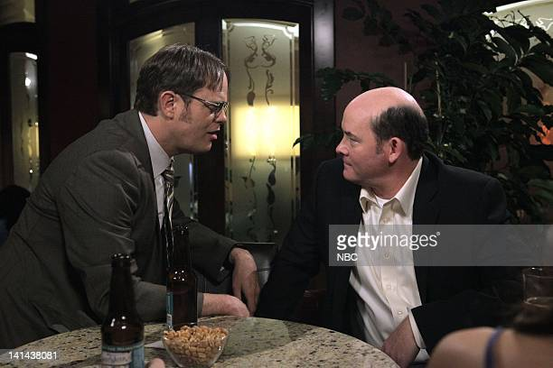 THE OFFICE After Hours Episode 816 Pictured Rainn Wilson as Dwight Schrute David Koechner as Todd Packer Photo by Byron Cohen/NBC/NBCU Photo Bank