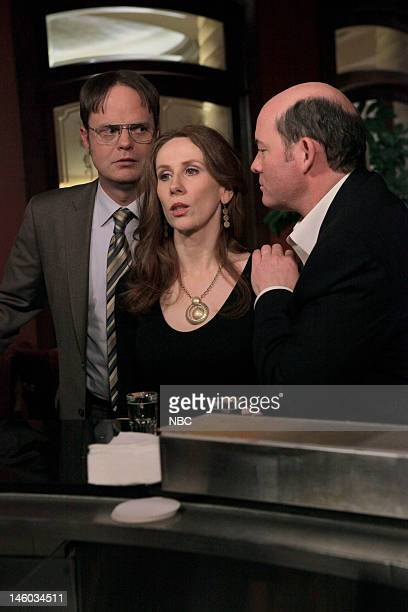 THE OFFICE After Hours Episode 816 Pictured Rainn Wilson as Dwight Schrute Catherine Tate as Nellie Bertrum David Koechner as Todd Packer