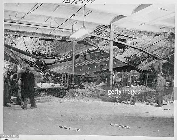 After it crashed into the upperlevel main concourse of Washington's Union Station due to an air brake failure the cars of Pennsylvania Railroad's...