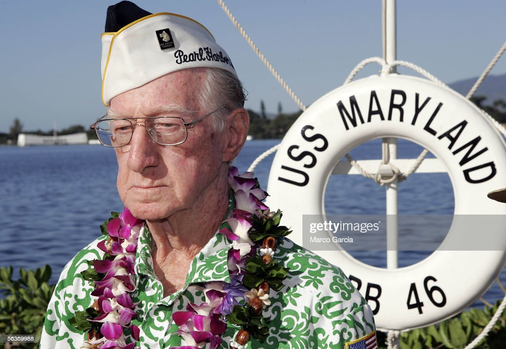 After laying a memorial wreath, USS Maryland and Pearl Harbor survivor Robert Kinzer looks on during the ceremony honoring the 64th anniversary of the surprise attack on Pearl Harbor, December 7, 2005 at Pearl Harbor, Hawaii. Around the country, Pearl Harbor survivors and others paid tribute to those lost during the December 7, 1941 Japanese bombing of Pearl Harbor.