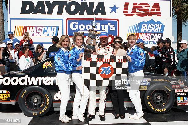 After leading 68 of the 120 laps in the Goody's 300 NASCAR Busch Grand National race at Daytona International Speedway Dale Earnhardt celebrates his...