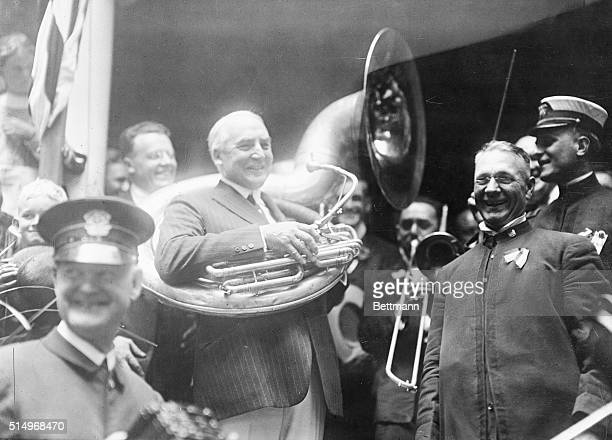 After learning he has been selected as the Republican Party's candidate for President Warren G Harding joins the band at his home in Marion Ohio...