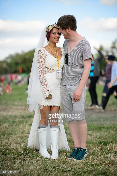 After marrying in Glastonbury Jack and Bianca Vaughan from Reading arrive at the same time as thousands of others ahead of the Glastonbury Festival...
