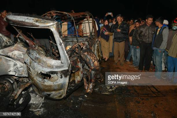 After math of the crash seen with burnt bodies hanging out of the vehicleTragic road mishap at Amtali 3 charred to death 4 injured when two vehicles...