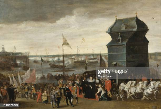 After Matheus Vroom, Queen Marie de Medici Disembarking in Antwerp, Queen Maria of Medicis landing in Antwerp, Oil on wood, Height, 64 cm , Width, 95...