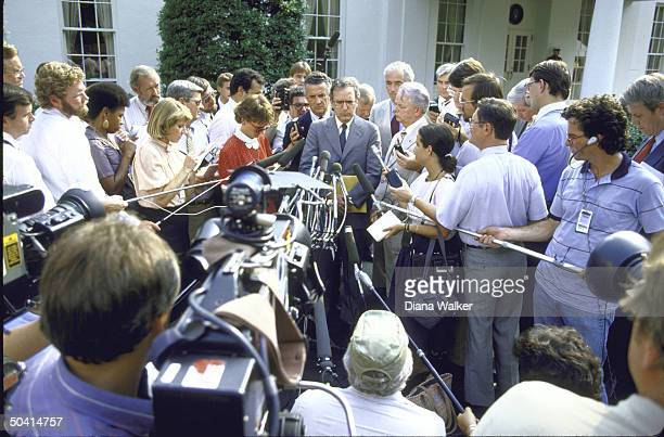 After meeting with President Reagan regarding Soviet Leader Gorbachev Senators George Mitchell Robert Byrd Paul Sarbanes Claiborne Pell and John...
