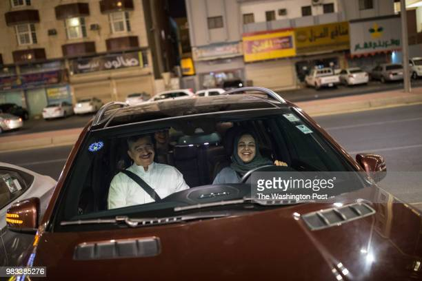 After midnight on June 24 the day the ban on women driving in Saudi is lifted Ahd Niazy's mother Dania Alagili parks the car after taking her family...